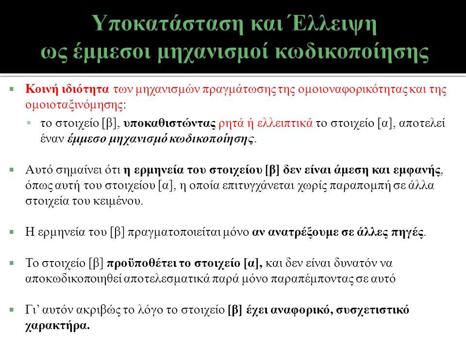  Κοινή ιδιότητα των μηχανισμών πραγμάτωσης της ομοιοναφορικότητας και της ομοιοταξινόμησης:  το στοιχείο [β], υποκαθιστώντας ρητά ή ελλειπτικά το στ