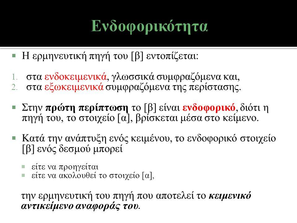  Η ερμηνευτική πηγή του [β] εντοπίζεται: 1. στα ενδοκειμενικά, γλωσσικά συμφραζόμενα και, 2. στα εξωκειμενικά συμφραζόμενα της περίστασης.  Στην πρώ