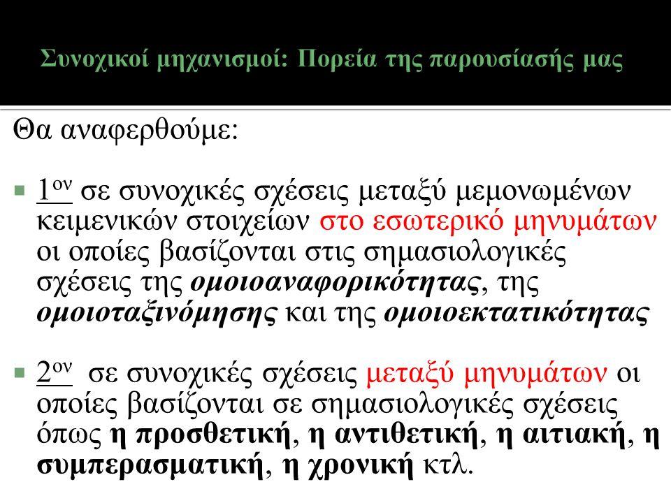  Η ερμηνευτική πηγή του [β] εντοπίζεται: 1.στα ενδοκειμενικά, γλωσσικά συμφραζόμενα και, 2.