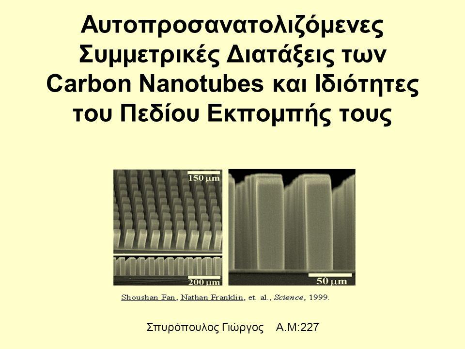 Αυτοπροσανατολιζόμενες Συμμετρικές Διατάξεις των Carbon Nanotubes και Ιδιότητες του Πεδίου Εκπομπής τους Σπυρόπουλος Γιώργος Α.Μ:227