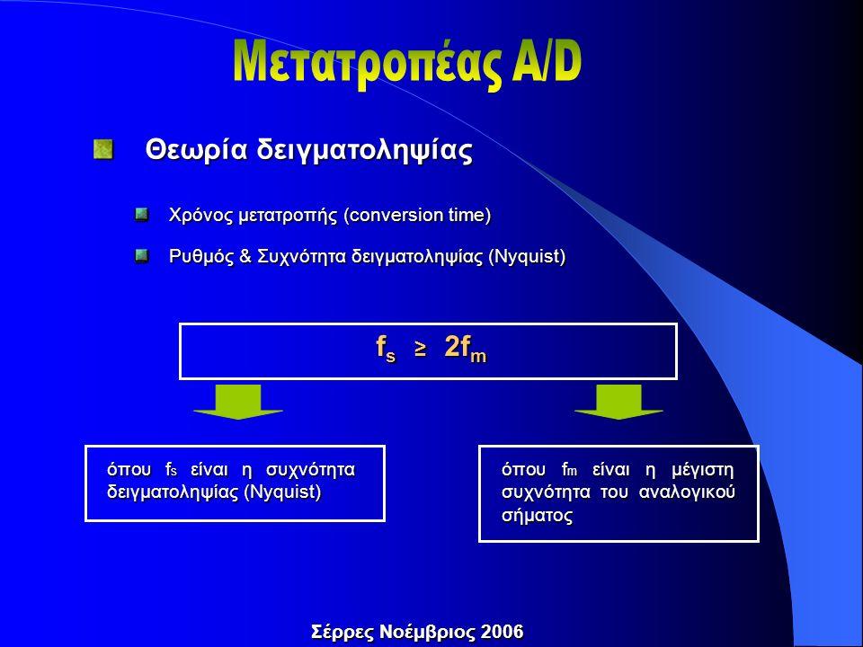Θεωρία δειγματοληψίας Θεωρία δειγματοληψίας Χρόνος μετατροπής (conversion time) Χρόνος μετατροπής (conversion time) Ρυθμός & Συχνότητα δειγματοληψίας (Nyquist) Ρυθμός & Συχνότητα δειγματοληψίας (Nyquist) f s ≥ 2f m όπου f s είναι η συχνότητα δειγματοληψίας (Nyquist) Σέρρες Νοέμβριος 2006 όπου f m είναι η μέγιστη συχνότητα του αναλογικού σήματος
