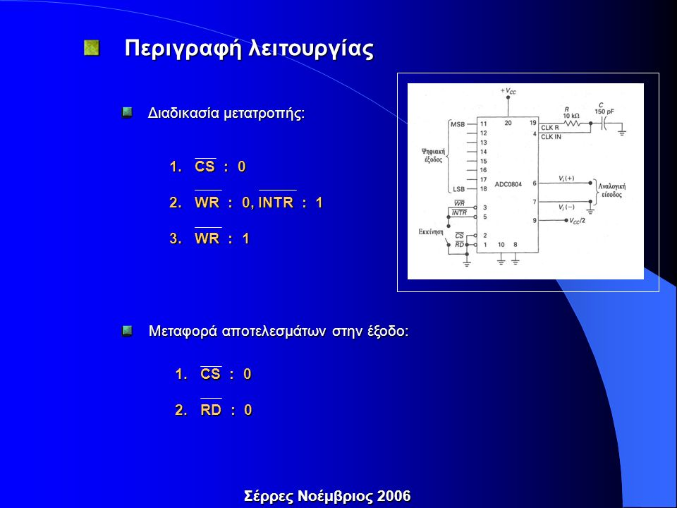 Διαδικασία μετατροπής: Διαδικασία μετατροπής: 1.CS : 0 2.WR : 0, INTR : 1 3.WR : 1 Μεταφορά αποτελεσμάτων στην έξοδο: Μεταφορά αποτελεσμάτων στην έξοδο: 1.CS : 0 2.RD : 0 Περιγραφή λειτουργίας Περιγραφή λειτουργίας Σέρρες Νοέμβριος 2006
