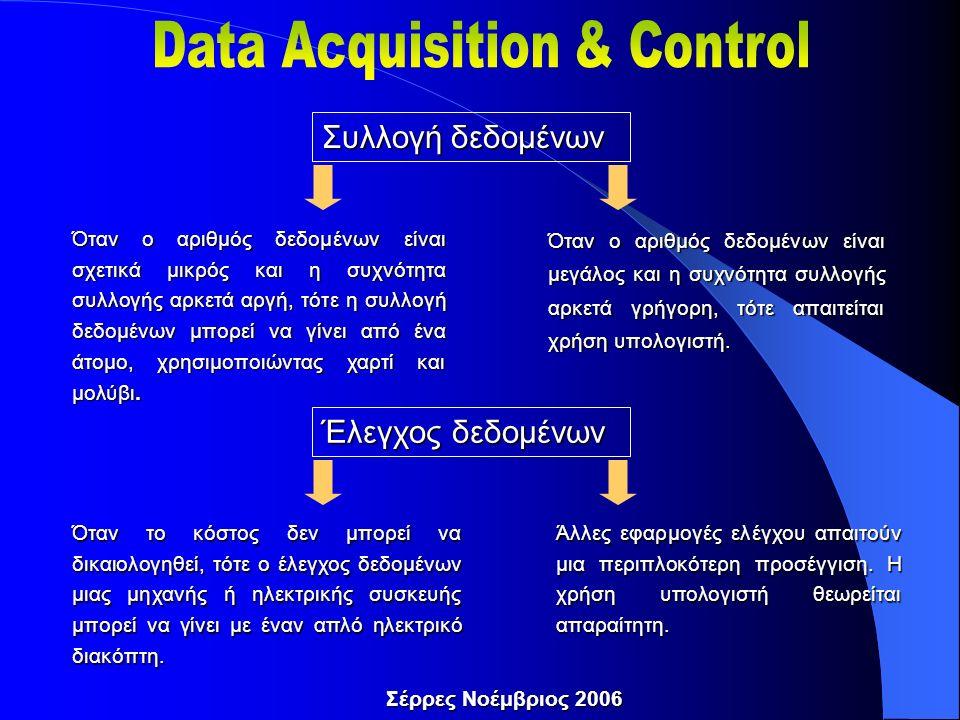 Συλλογή δεδομένων Όταν ο αριθμός δεδομένων είναι σχετικά μικρός και η συχνότητα συλλογής αρκετά αργή, τότε η συλλογή δεδομένων μπορεί να γίνει από ένα άτομο, χρησιμοποιώντας χαρτί και μολύβι.