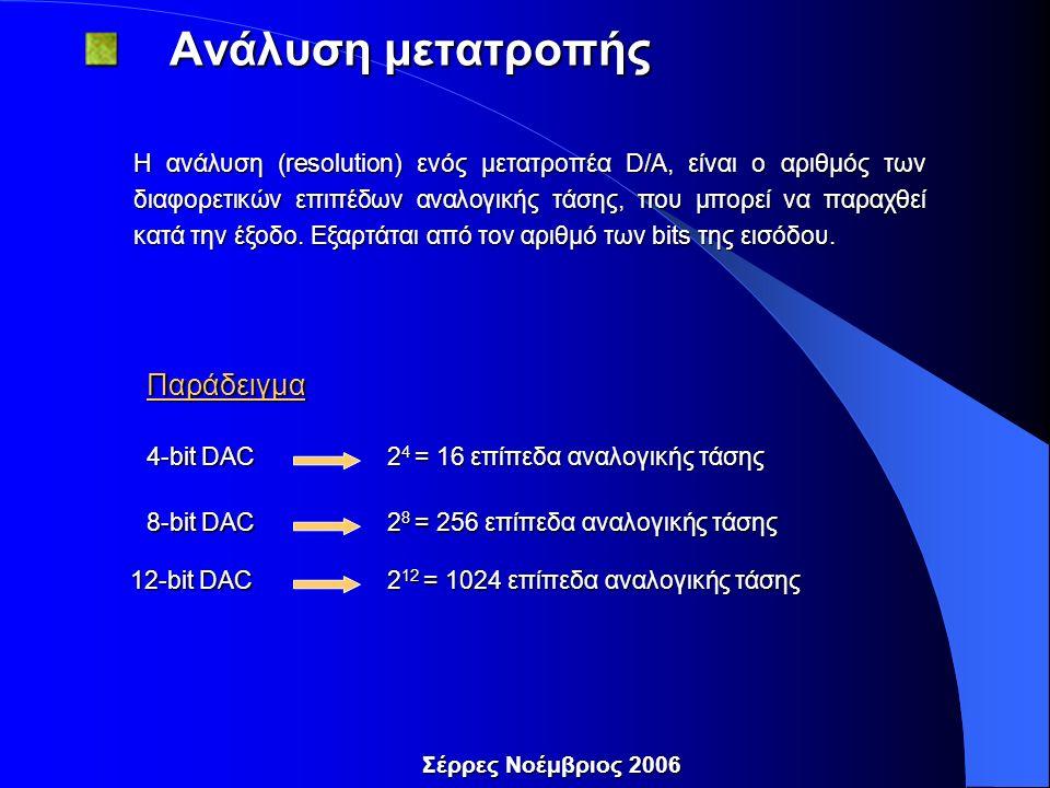 Σέρρες Νοέμβριος 2006 Ανάλυση μετατροπής Ανάλυση μετατροπής Η ανάλυση (resolution) ενός μετατροπέα D/A, είναι ο αριθμός των διαφορετικών επιπέδων αναλογικής τάσης, που μπορεί να παραχθεί κατά την έξοδο.