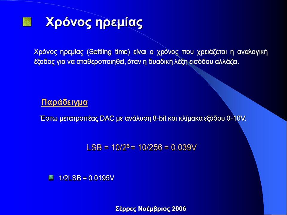 Σέρρες Νοέμβριος 2006 Χρόνος ηρεμίας Χρόνος ηρεμίας Χρόνος ηρεμίας (Settling time) είναι ο χρόνος που χρειάζεται η αναλογική έξοδος για να σταθεροποιηθεί, όταν η δυαδική λέξη εισόδου αλλάζει.