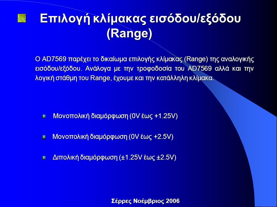 Σέρρες Νοέμβριος 2006 Επιλογή κλίμακας εισόδου/εξόδου (Range) Επιλογή κλίμακας εισόδου/εξόδου (Range) Ο AD7569 παρέχει το δικαίωμα επιλογής κλίμακας (Range) της αναλογικής εισόδου/εξόδου.