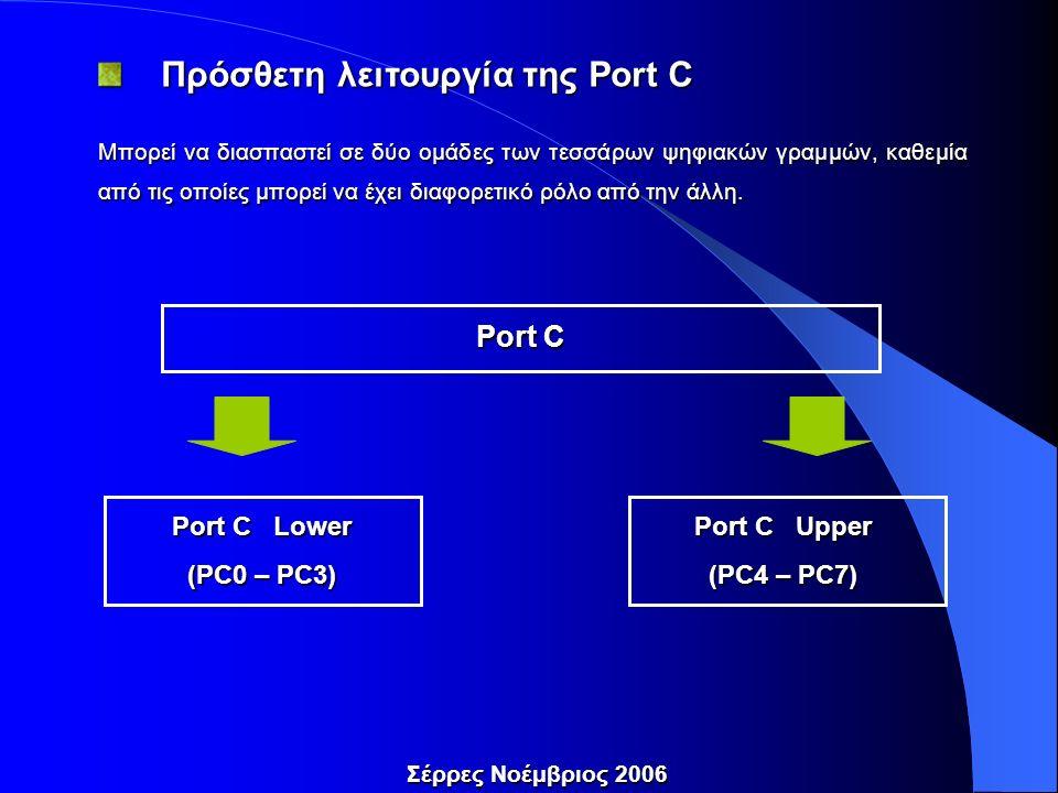 Πρόσθετη λειτουργία της Port C Πρόσθετη λειτουργία της Port C Μπορεί να διασπαστεί σε δύο ομάδες των τεσσάρων ψηφιακών γραμμών, καθεμία από τις οποίες μπορεί να έχει διαφορετικό ρόλο από την άλλη.