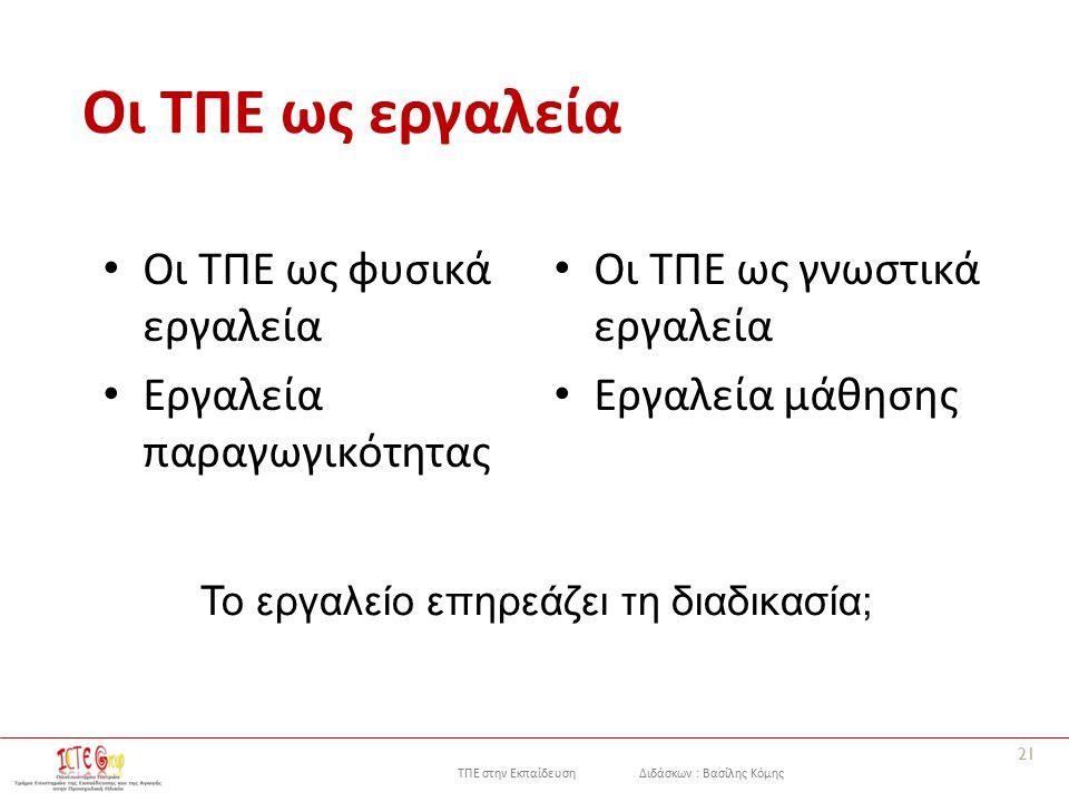 ΤΠΕ στην Εκπαίδευση Διδάσκων : Βασίλης Κόμης Οι ΤΠΕ ως εργαλεία Οι ΤΠΕ ως φυσικά εργαλεία Εργαλεία παραγωγικότητας Οι ΤΠΕ ως γνωστικά εργαλεία Εργαλεία μάθησης 21 Το εργαλείο επηρεάζει τη διαδικασία;