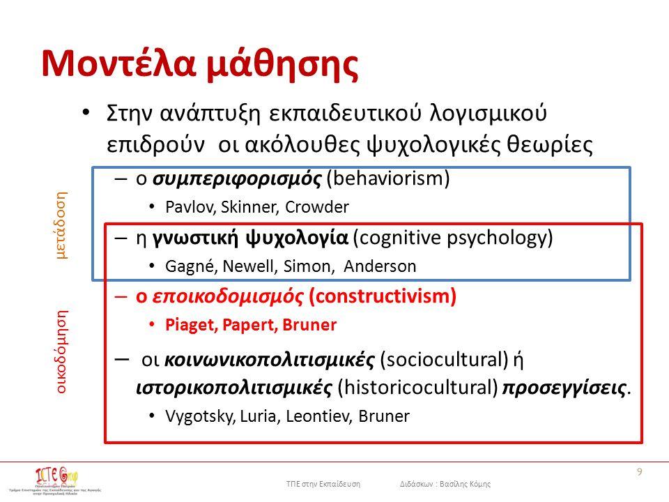 ΤΠΕ στην Εκπαίδευση Διδάσκων : Βασίλης Κόμης Μοντέλα μάθησης Στην ανάπτυξη εκπαιδευτικού λογισμικού επιδρούν οι ακόλουθες ψυχολογικές θεωρίες – ο συμπεριφορισμός (behaviorism) Pavlov, Skinner, Crowder – η γνωστική ψυχολογία (cognitive psychology) Gagné, Newell, Simon, Anderson – ο εποικοδομισμός (constructivism) Piaget, Papert, Bruner – οι κοινωνικοπολιτισμικές (sociocultural) ή ιστορικοπολιτισμικές (historicocultural) προσεγγίσεις.