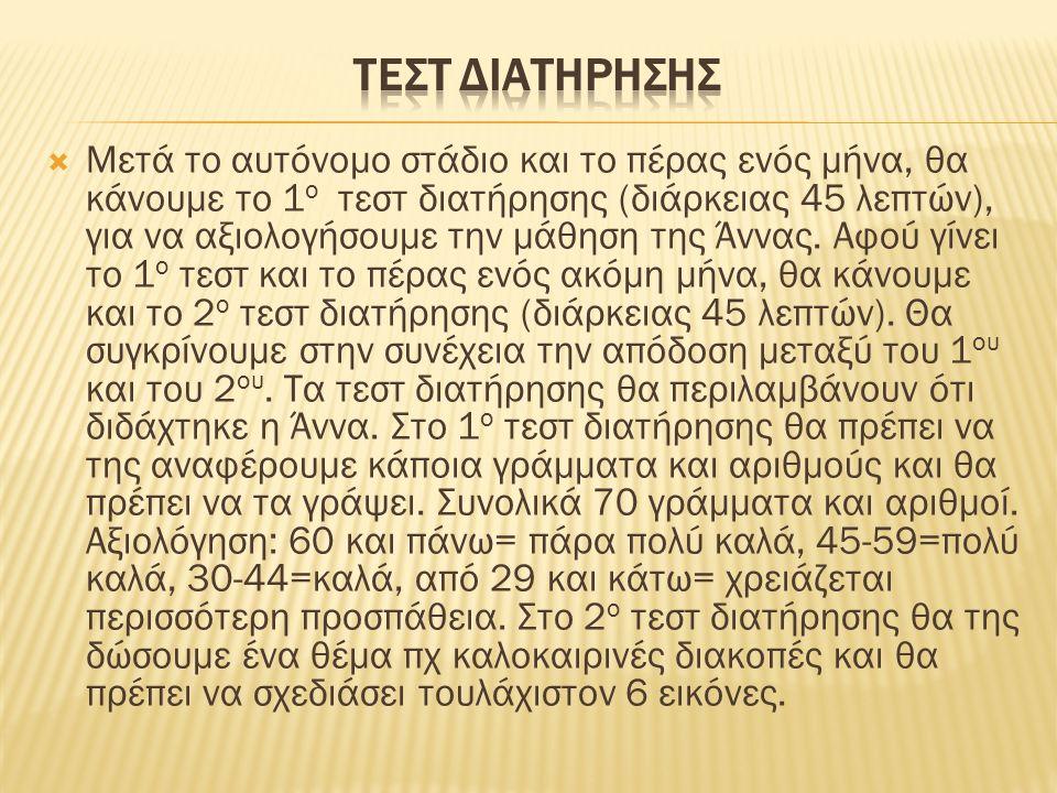  Μετά το αυτόνομο στάδιο και το πέρας ενός μήνα, θα κάνουμε το 1 ο τεστ διατήρησης (διάρκειας 45 λεπτών), για να αξιολογήσουμε την μάθηση της Άννας.