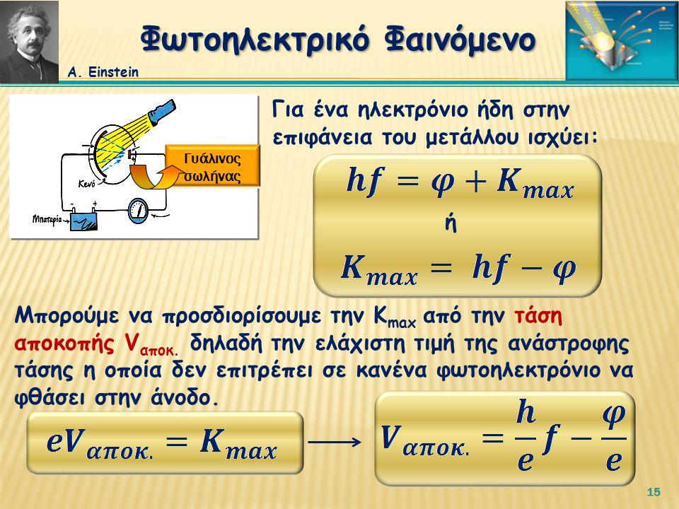 15 Για ένα ηλεκτρόνιο ήδη στην επιφάνεια του μετάλλου ισχύει: ή Μπορούμε να προσδιορίσουμε την Κ max από την τάση αποκοπής V αποκ.