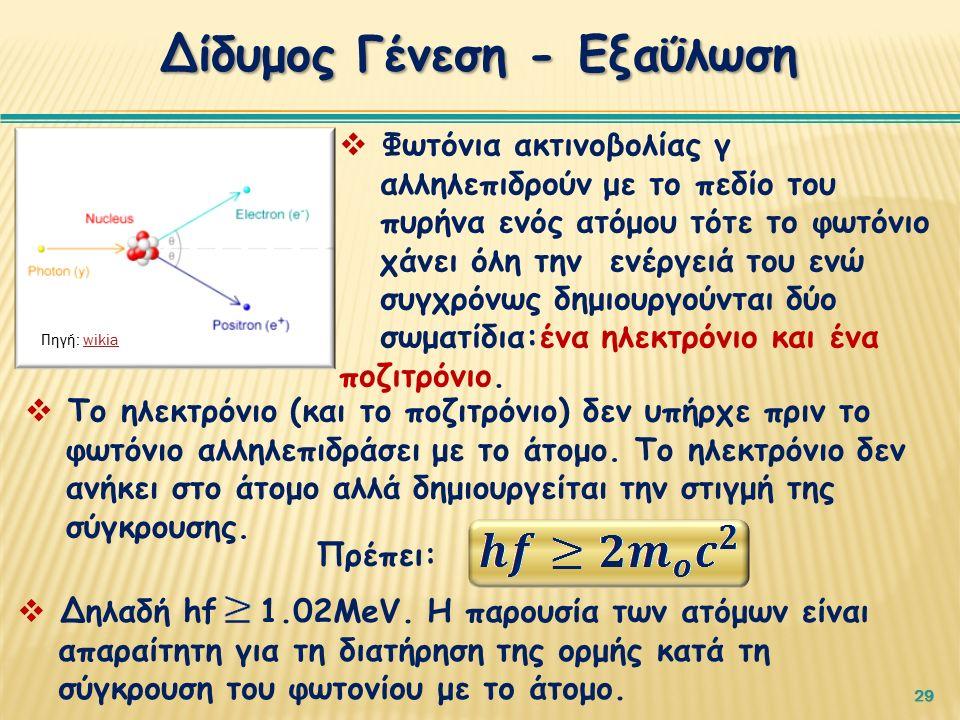 29 Δίδυμος Γένεση - Εξαΰλωση Πηγή: wikiawikia  Φωτόνια ακτινοβολίας γ αλληλεπιδρούν με το πεδίο του πυρήνα ενός ατόμου τότε το φωτόνιο χάνει όλη την ενέργειά του ενώ συγχρόνως δημιουργούνται δύο σωματίδια:ένα ηλεκτρόνιο και ένα ποζιτρόνιο.