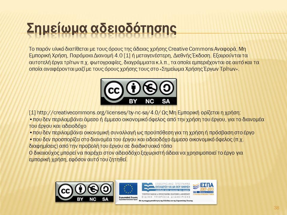 38 Το παρόν υλικό διατίθεται με τους όρους της άδειας χρήσης Creative Commons Αναφορά, Μη Εμπορική Χρήση, Παρόμοια Διανομή 4.0 [1] ή μεταγενέστερη, Διεθνής Έκδοση.