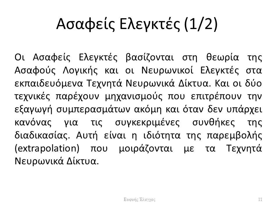 Ασαφείς Ελεγκτές (1/2) Οι Ασαφείς Ελεγκτές βασίζονται στη θεωρία της Ασαφούς Λογικής και οι Νευρωνικοί Ελεγκτές στα εκπαιδευόμενα Τεχνητά Νευρωνικά Δίκτυα.
