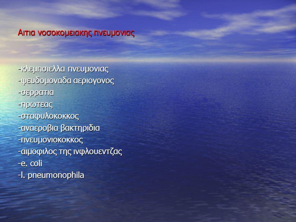 Αιτια εξωνοσοκομειακης πνευμονιας -στρεπτοκοκκος της πνευμονιας -αιμοφιλος της γριππης -κλεμπσιελλα της πνευμονιας -χρυσιζων σταφυλοκοκκος -μεικτα αναεροβια -στρεπτοκοκκος πυογονος -ιοι γριππης Ακαι Β, παραινφλουεντζας, αδενοιοι -μυκοπλασμα της πνευμονιας -chlamydia -coxiella burnetii -legionella -Gram αρνητικοι βακιλλοι (ψευδομοναδα,πρωτεας, κολοβακτηριδιο, σερρατια).