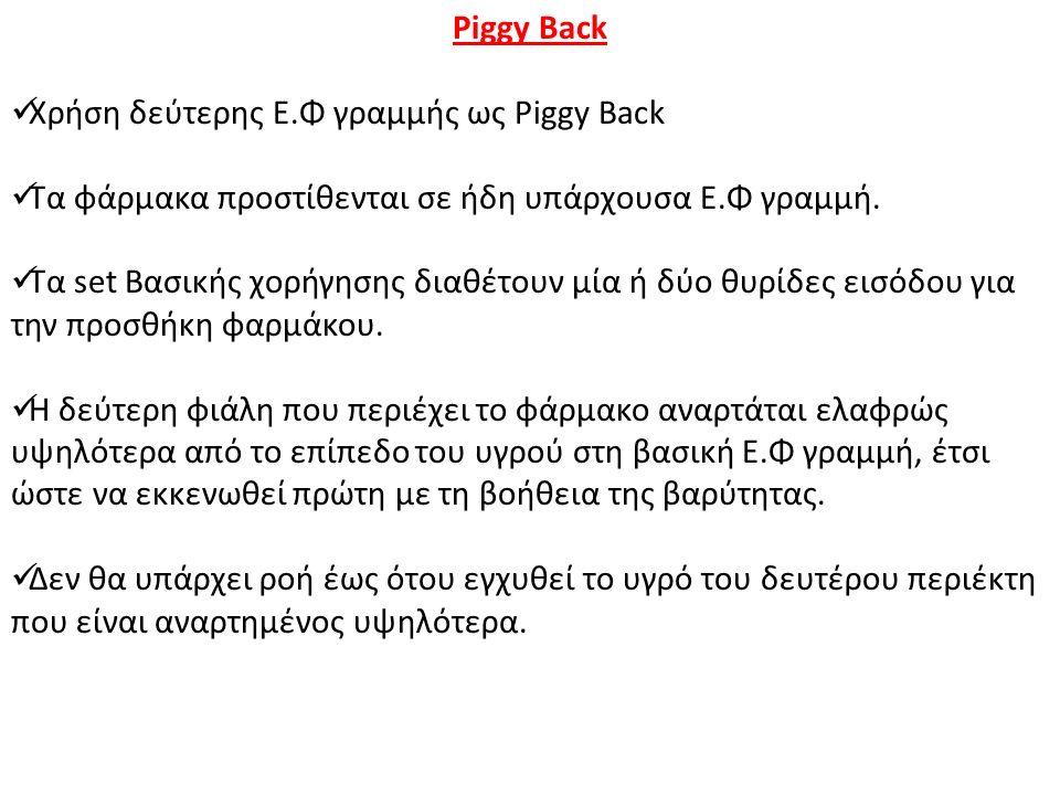 Piggy Back Χρήση δεύτερης Ε.Φ γραμμής ως Piggy Back Τα φάρμακα προστίθενται σε ήδη υπάρχουσα Ε.Φ γραμμή.