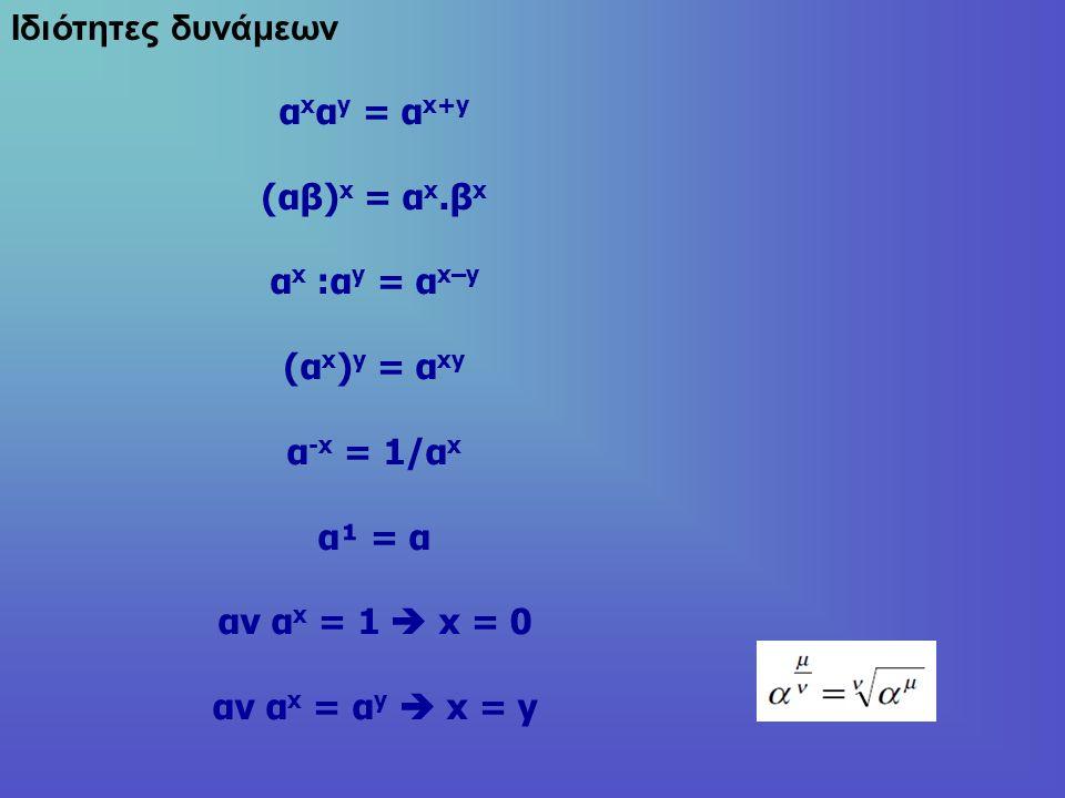 Ιδιότητες δυνάμεων α x α y = α x+y (αβ) x = α x.β x α x :α y = α x–y (α x ) y = α xy α -x = 1/α x α¹ = α αν α x = 1  x = 0 αν α x = α y  x = y