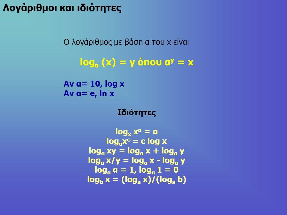 Λογάριθμοι και ιδιότητες Ο λογάριθμος με βάση α του x είναι log α (x) = y όπου α y = x Αν α= 10, log x Αν α= e, ln x Ιδιότητες log x x α = α log α x c = c log x log α xy = log α x + log α y log α x/y = log α x - log α y log α α = 1, log α 1 = 0 log b x = (log a x)/(log a b)