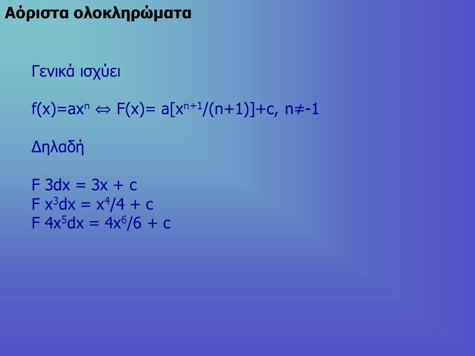 Aόριστα ολοκληρώματα Γενικά ισχύει f(x)=ax n ⇔ F(x)= a[x n+1 /(n+1)]+c, n≠-1 Δηλαδή F 3dx = 3x + c F x 3 dx = x 4 /4 + c F 4x 5 dx = 4x 6 /6 + c