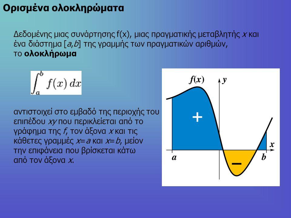Oρισμένα ολοκληρώματα Δεδομένης μιας συνάρτησης f(x), μιας πραγματικής μεταβλητής x και ένα διάστημα [a,b] της γραμμής των πραγματικών αριθμών, το ολοκλήρωμα αντιστοιχεί στο εμβαδό της περιοχής του επιπέδου xy που περικλείεται από το γράφημα της f, τον άξονα x και τις κάθετες γραμμές x=a και x=b, μείον την επιφάνεια που βρίσκεται κάτω από τον άξονα x.