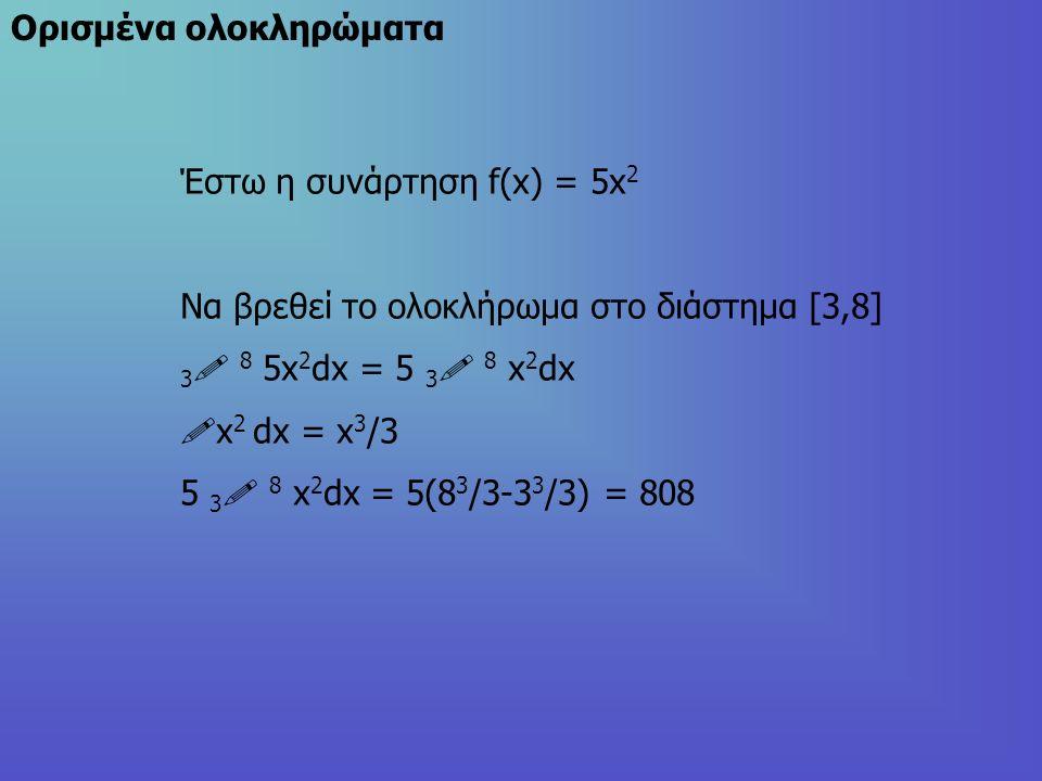 Oρισμένα ολοκληρώματα Έστω η συνάρτηση f(x) = 5x 2 Nα βρεθεί το ολοκλήρωμα στο διάστημα [3,8] 3  8 5x 2 dx = 5 3  8 x 2 dx !x 2 dx = x 3 /3 5 3  8 x 2 dx = 5(8 3 /3-3 3 /3) = 808