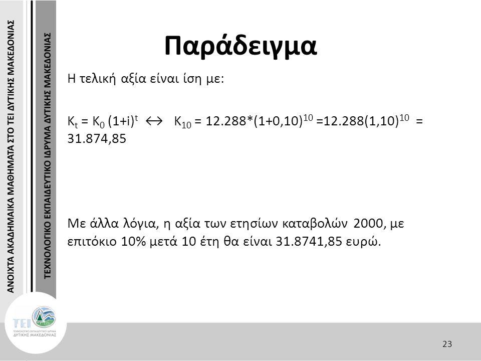 Παράδειγμα Η τελική αξία είναι ίση με: Κ t = K 0 (1+i) t ↔ K 10 = 12.288*(1+0,10) 10 =12.288(1,10) 10 = 31.874,85 Με άλλα λόγια, η αξία των ετησίων κα