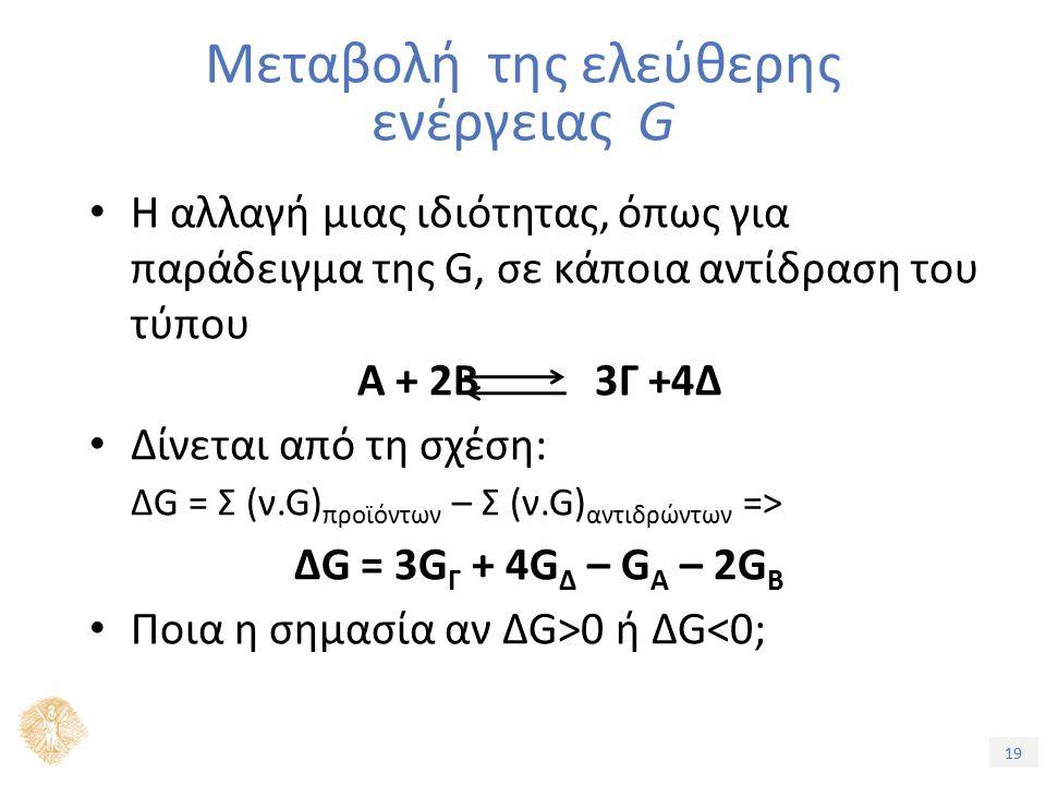 19 Η αλλαγή μιας ιδιότητας, όπως για παράδειγμα της G, σε κάποια αντίδραση του τύπου Α + 2Β 3Γ +4Δ Δίνεται από τη σχέση: ΔG = Σ (ν.G) προϊόντων – Σ (ν.G) αντιδρώντων => ΔG = 3G Γ + 4G Δ – G Α – 2G Β Ποια η σημασία αν ΔG>0 ή ΔG<0; Μεταβολή της ελεύθερης ενέργειας G