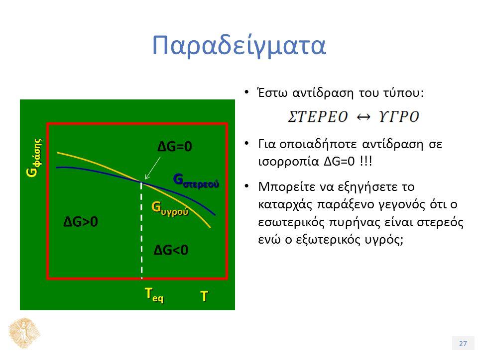 27 Έστω αντίδραση του τύπου: Για οποιαδήποτε αντίδραση σε ισορροπία ΔG=0 !!.