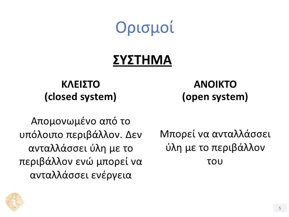 5 Ορισμοί ΣΥΣΤΗΜΑ ΚΛΕΙΣΤΟ (closed system) ΑΝΟΙΚΤΟ (open system) Απομονωμένο από το υπόλοιπο περιβάλλον.