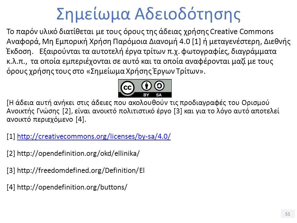 51 Σημείωμα Αδειοδότησης Το παρόν υλικό διατίθεται με τους όρους της άδειας χρήσης Creative Commons Αναφορά, Μη Εμπορική Χρήση Παρόμοια Διανομή 4.0 [1] ή μεταγενέστερη, Διεθνής Έκδοση.