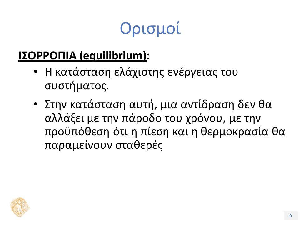 9 Ορισμοί ΙΣΟΡΡΟΠΙΑ (equilibrium): Η κατάσταση ελάχιστης ενέργειας του συστήματος.