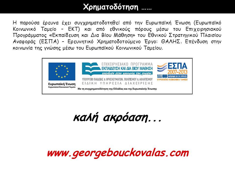 Η παρούσα έρευνα έχει συγχρηματοδοτηθεί από την Ευρωπαϊκή Ένωση (Ευρωπαϊκό Κοινωνικό Ταμείο – ΕΚΤ) και από εθνικούς πόρους μέσω του Επιχειρησιακού Προ