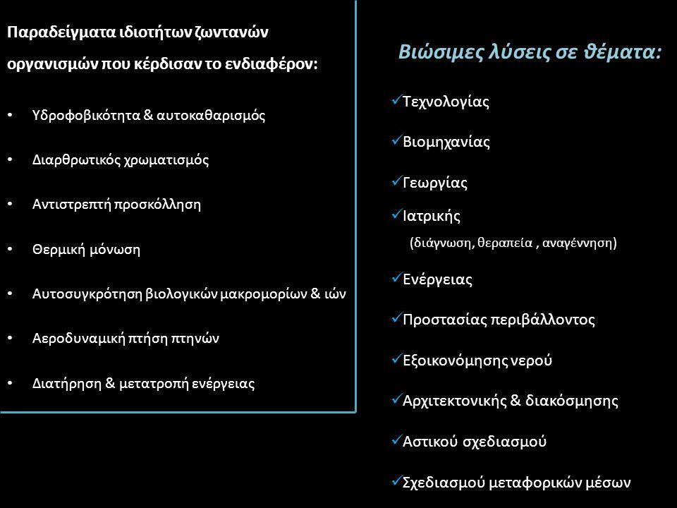 Παραδείγματα ιδιοτήτων ζωντανών οργανισμών που κέρδισαν το ενδιαφέρον: Υδροφοβικότητα & αυτοκαθαρισμός Διαρθρωτικός χρωματισμός Αντιστρεπτή προσκόλληση Θερμική μόνωση Αυτοσυγκρότηση βιολογικών μακρομορίων & ιών Αεροδυναμική πτήση πτηνών Διατήρηση & μετατροπή ενέργειας Βιώσιμες λύσεις σε θέματα: Τεχνολογίας Βιομηχανίας Γεωργίας Ιατρικής (διάγνωση, θεραπεία, αναγέννηση) Ενέργειας Προστασίας περιβάλλοντος Εξοικονόμησης νερού Αρχιτεκτονικής & διακόσμησης Αστικού σχεδιασμού Σχεδιασμού μεταφορικών μέσων