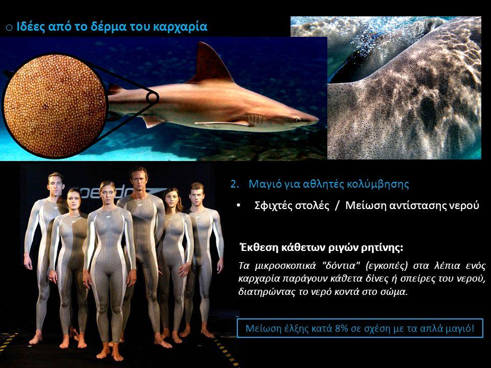 o Ιδέες από το δέρμα του καρχαρία 1.Επίστρωση για καρίνες πλοίων / υποβρυχίων Πρόληψη από φύκη και πεταλίδες (Πανεπιστήμιο της Φλόριντα) 2.Μαγιό για αθλητές κολύμβησης Σφιχτές στολές / Μείωση αντίστασης νερού Έκθεση κάθετων ριγών ρητίνης: Τα μικροσκοπικά δόντια (εγκοπές) στα λέπια ενός καρχαρία παράγουν κάθετα δίνες ή σπείρες του νερού, διατηρώντας το νερό κοντά στο σώμα.