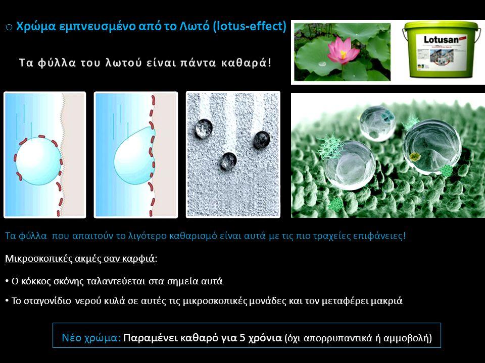o Χρώμα εμπνευσμένο από το Λωτό (lotus-effect) 1.Εδαφικό σωματίδιο σκόνης προσγειώνεται στο φυτό 2.Κυματισμός φύλλου 3.Το σωματίδιο κατευθύνεται σε ένα συγκεκριμένο σημείο 4.Οι σταγόνες της βροχής αποστέλλονται στην ίδια θέση 5.Απομάκρυνση Βρωμιάς 1 Τα φύλλα που απαιτούν το λιγότερο καθαρισμό είναι αυτά με τις πιο τραχείες επιφάνειες.