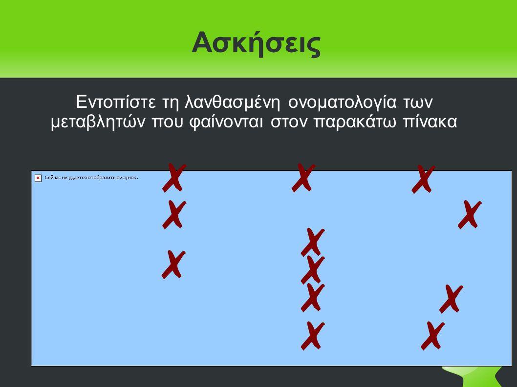Ασκήσεις Να χαρακτηρίσετε ποιες από τις παρακάτω εντολές εκχώρησης είναι σωστές ή λάθος και σε περίπτωση λάθους να αιτιολογήσετε την απάντησή σας: 1.