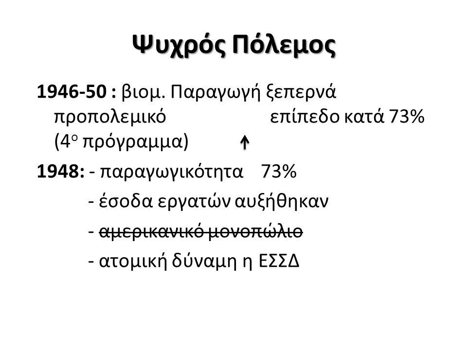 Ψυχρός Πόλεμος 1946-50 : βιομ. Παραγωγή ξεπερνά προπολεμικό επίπεδο κατά 73% (4 ο πρόγραμμα) 1948: - παραγωγικότητα 73% - έσοδα εργατών αυξήθηκαν - αμ