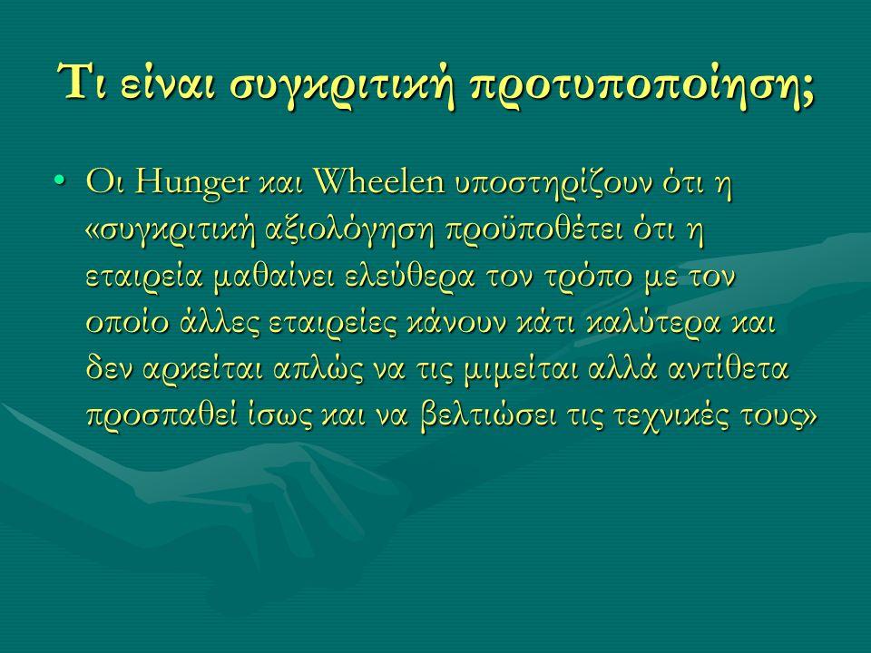 Τι είναι συγκριτική προτυποποίηση; Οι Hunger και Wheelen υποστηρίζουν ότι η «συγκριτική αξιολόγηση προϋποθέτει ότι η εταιρεία μαθαίνει ελεύθερα τον τρόπο με τον οποίο άλλες εταιρείες κάνουν κάτι καλύτερα και δεν αρκείται απλώς να τις μιμείται αλλά αντίθετα προσπαθεί ίσως και να βελτιώσει τις τεχνικές τους»Οι Hunger και Wheelen υποστηρίζουν ότι η «συγκριτική αξιολόγηση προϋποθέτει ότι η εταιρεία μαθαίνει ελεύθερα τον τρόπο με τον οποίο άλλες εταιρείες κάνουν κάτι καλύτερα και δεν αρκείται απλώς να τις μιμείται αλλά αντίθετα προσπαθεί ίσως και να βελτιώσει τις τεχνικές τους»
