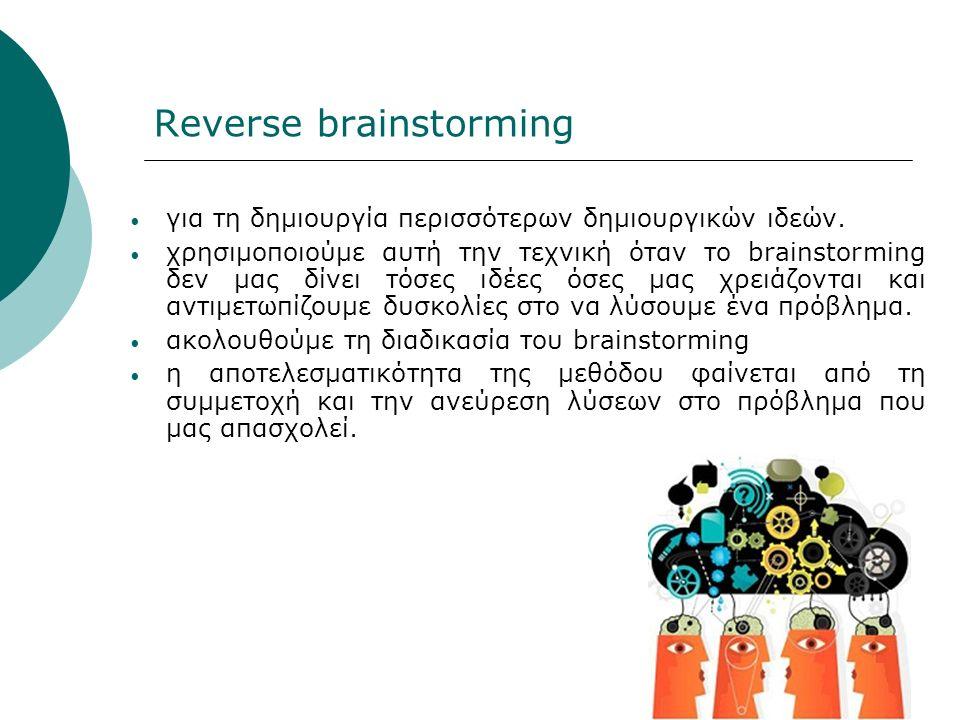 Reverse brainstorming για τη δημιουργία περισσότερων δημιουργικών ιδεών.