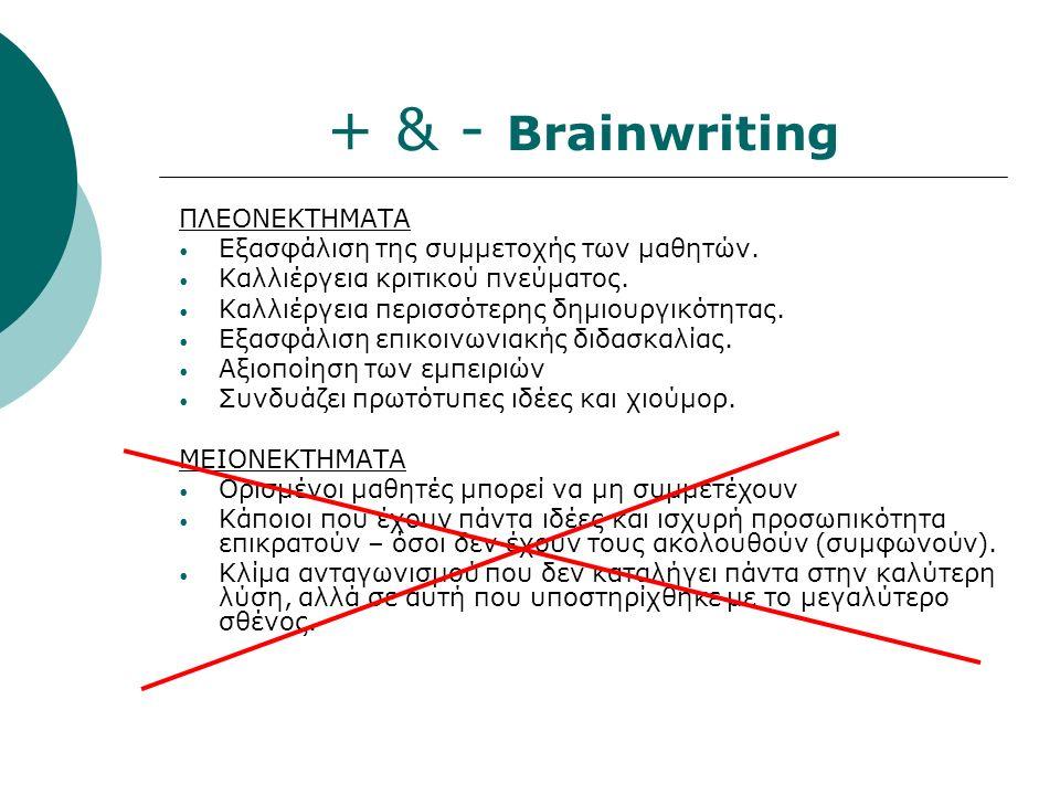 + & - Brainwriting ΠΛΕΟΝΕΚΤΗΜΑΤΑ Εξασφάλιση της συμμετοχής των μαθητών.