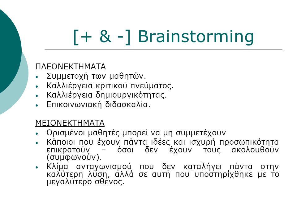 [+ & -] Brainstorming ΠΛΕΟΝΕΚΤΗΜΑΤΑ Συμμετοχή των μαθητών.