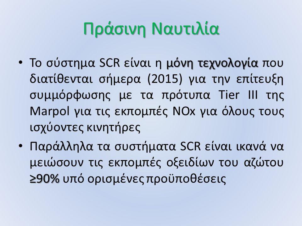 Πράσινη Ναυτιλία μόνη τεχνολογία Το σύστημα SCR είναι η μόνη τεχνολογία που διατίθενται σήμερα (2015) για την επίτευξη συμμόρφωσης με τα πρότυπα Tier III της Marpol για τις εκπομπές NOx για όλους τους ισχύοντες κινητήρες ≥90% Παράλληλα τα συστήματα SCR είναι ικανά να μειώσουν τις εκπομπές οξειδίων του αζώτου ≥90% υπό ορισμένες προϋποθέσεις