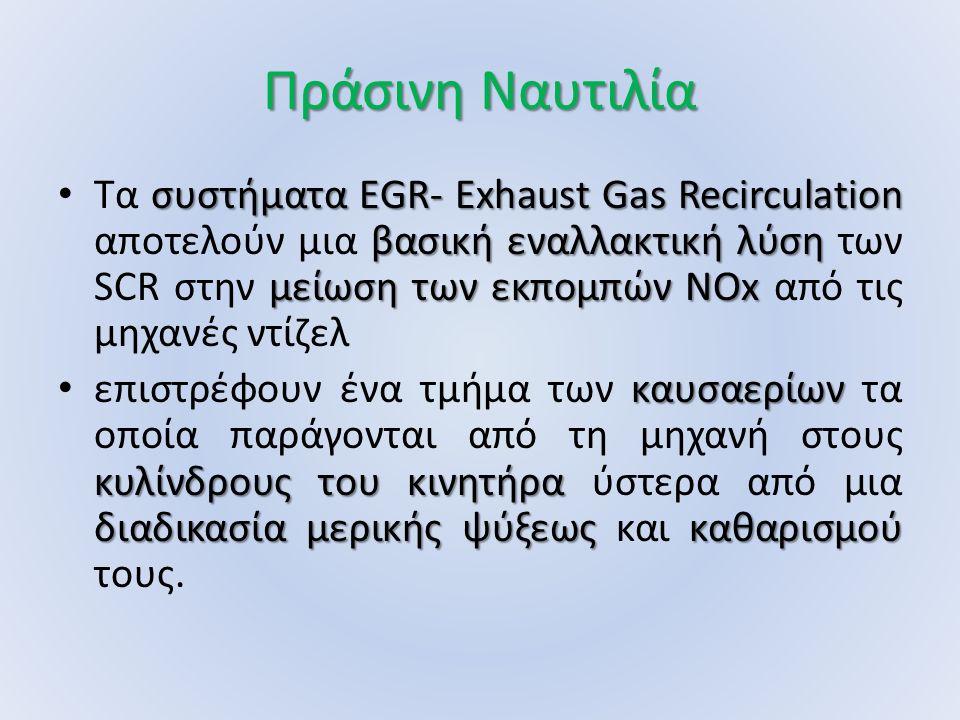 Πράσινη Ναυτιλία συστήματα EGR- Exhaust Gas Recirculation βασική εναλλακτική λύση μείωση των εκπομπών NOx Τα συστήματα EGR- Exhaust Gas Recirculation αποτελούν μια βασική εναλλακτική λύση των SCR στην μείωση των εκπομπών NOx από τις μηχανές ντίζελ καυσαερίων κυλίνδρους του κινητήρα διαδικασία μερικής ψύξεως καθαρισμού επιστρέφουν ένα τμήμα των καυσαερίων τα οποία παράγονται από τη μηχανή στους κυλίνδρους του κινητήρα ύστερα από μια διαδικασία μερικής ψύξεως και καθαρισμού τους.