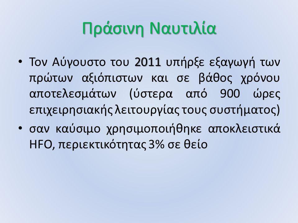 Πράσινη Ναυτιλία 2011 Τον Αύγουστο του 2011 υπήρξε εξαγωγή των πρώτων αξιόπιστων και σε βάθος χρόνου αποτελεσμάτων (ύστερα από 900 ώρες επιχειρησιακής λειτουργίας τους συστήματος) σαν καύσιμο χρησιμοποιήθηκε αποκλειστικά HFO, περιεκτικότητας 3% σε θείο