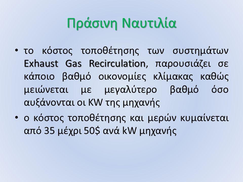 Πράσινη Ναυτιλία Exhaust Gas Recirculation το κόστος τοποθέτησης των συστημάτων Exhaust Gas Recirculation, παρουσιάζει σε κάποιο βαθμό οικονομίες κλίμακας καθώς μειώνεται με μεγαλύτερο βαθμό όσο αυξάνονται οι KW της μηχανής ο κόστος τοποθέτησης και μερών κυμαίνεται από 35 μέχρι 50$ ανά kW μηχανής