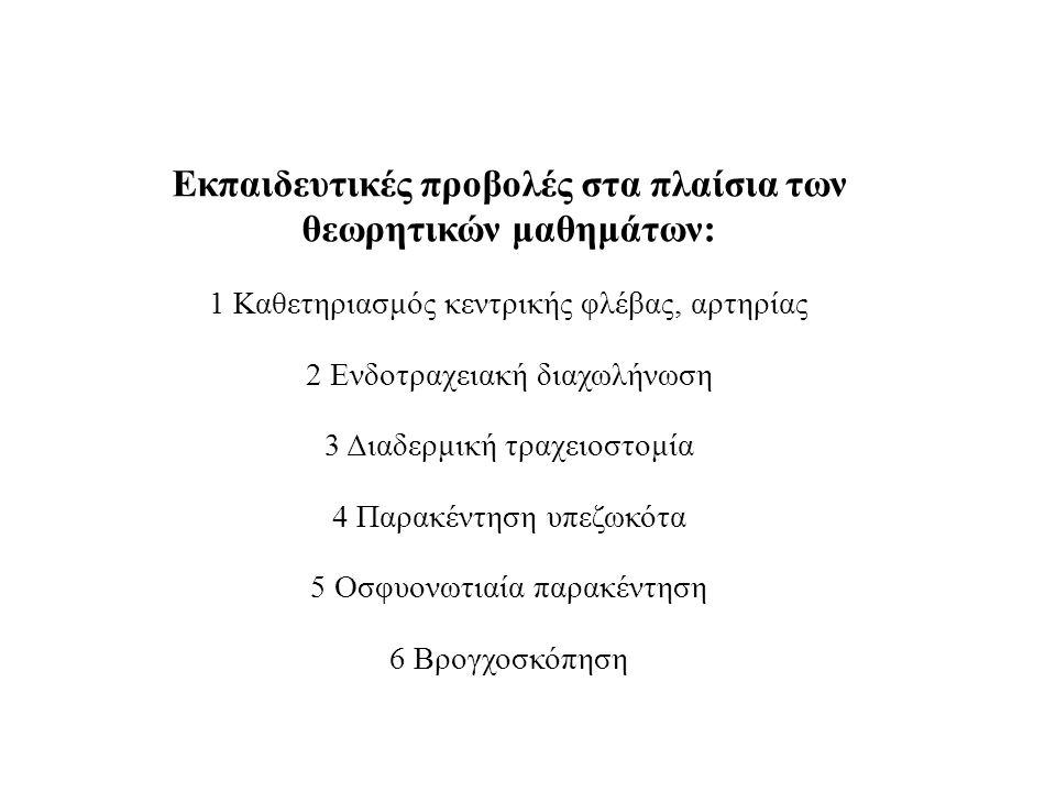 Εκπαιδευτικές προβολές στα πλαίσια των θεωρητικών μαθημάτων: 1 Καθετηριασμός κεντρικής φλέβας, αρτηρίας 2 Ενδοτραχειακή διαχωλήνωση 3 Διαδερμική τραχε