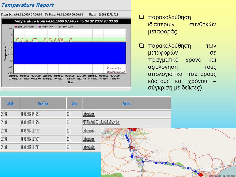 Δρ. Γ.Μαλινδρέτος  παρακολούθηση ιδιαίτερων συνθηκών μεταφοράς  παρακολούθηση των μεταφορών σε πραγματικό χρόνο και αξιολόγηση τους απολογιστικά (σε