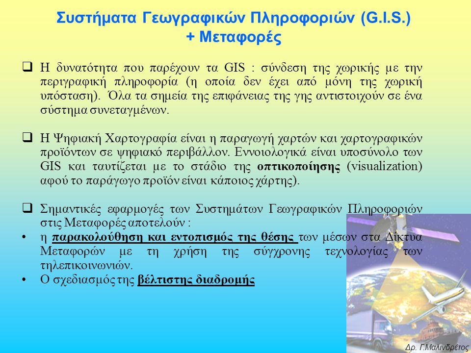 Δρ. Γ.Μαλινδρέτος Συστήματα Γεωγραφικών Πληροφοριών (G.I.S.) + Μεταφορές  H δυνατότητα που παρέχουν τα GIS : σύνδεση της χωρικής µε την περιγραφική π
