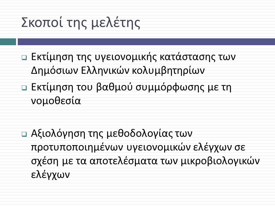 Σκοποί της μελέτης  Εκτίμηση της υγειονομικής κατάστασης των Δημόσιων Ελληνικών κολυμβητηρίων  Εκτίμηση του βαθμού συμμόρφωσης με τη νομοθεσία  Αξιολόγηση της μεθοδολογίας των προτυποποιημένων υγειονομικών ελέγχων σε σχέση με τα αποτελέσματα των μικροβιολογικών ελέγχων