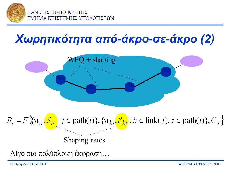 1η Ημερίδα ΟΤΕ-ΕΔΕΤΑΘΗΝΑ ΑΠΡΙΛΙΟΣ 2003 ΠΑΝΕΠΙΣΤΗΜΙΟ ΚΡΗΤΗΣ ΤΜΗΜΑ ΕΠΙΣΤΗΜΗΣ ΥΠΟΛΟΓΙΣΤΩΝ Χωρητικότητα από-άκρο-σε-άκρο (2) WFQ + shaping Λίγο πιο πολύπλ